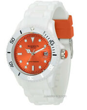 Madison New York  U4359F1 White Fashion Orange Unisex Damen Herren Uhr Silikon