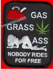 SEXY BIKER  Patch Aufnäher GAS GRASS ASS NOBODY .. NEU
