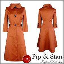 KAREN MILLEN FROCK COAT SIZE UK12 US8 COPPER WOMENS LADIES 1950S INSPIRED