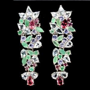 Unheated Pear Tourmaline Emerald Tanzanite Gems 925 Sterling Silver Earrings