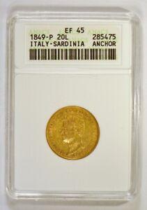 1849-P Italy-Sardinia 20 Lire Gold Coin with Carlo Alberto, Certified XF45 ANACS