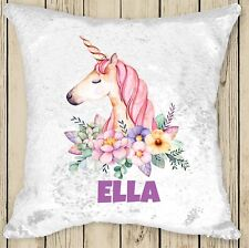 Personalised Unicorn Magic Sequin Cushion Cover Silver White sequins