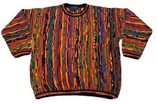 Vtg Tundra Canada Multi Color Cotton Sweater Mens Size L Cosby Biggie Hip Hop