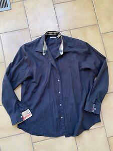 Mens BURBERRY BRIT Navy Casual Dress Shirt - Size XXL Slim Fit - BNWOT