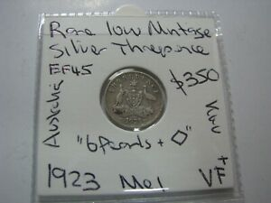 Australia 1923 Silver Rare Threepence Coin Melbourne About Extra Fine