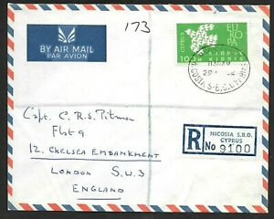 Cyprus Registered Airmail Cover Solo 100M Europa Stamp to England 1962