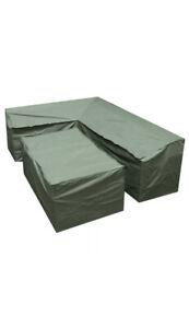Woodside Green L Shape Outdoor Dining Waterproof Patio Set Cover Rattan