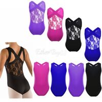 Girls Stretch Gymnastics Ballet Costumes Kids Tank Leotard Ballet Dance Wear