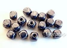 50 4x4mm Czech Glass Cube Beads: Luster - Opaque Navy