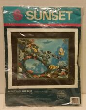 Sunset Beauty and the Reef Sea Ocean Animals Fish Crewel Embroidery Kit 11074