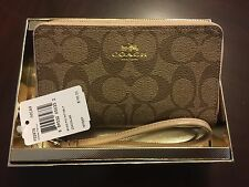 NWT Coach 55978 BOXED DOUBLE ZIP PHONE WALLET IN SIGNATURE PATENT LEATHER TRIM