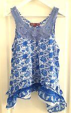 Top Débardeur bleu haut crochet fleurs provençal coupe déstructurée KARLA T L
