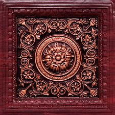 # VC 02 (Lot of 50) - Rose/Antique Copper PVC Decorative Ceiling Tiles (Grid)