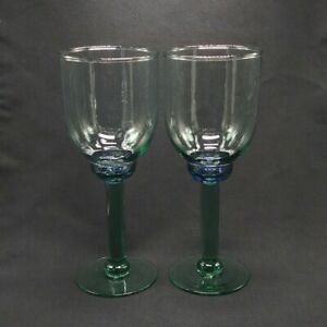 Green Wine Glass Goblets Barware Set of 2 Purple Accent