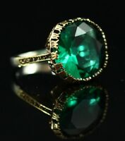 925 Sterling Silver Handmade Authentic Turkish  Emerald Ladies Ring 7-9