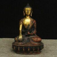 Old Hand carved brass Medicine Dragon Buddha sakyamuni Shakyamuni statue