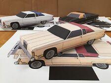 Papercraft Lincoln Town Coupe peach color Paper Car EZU-build 1977 Toy Model Car