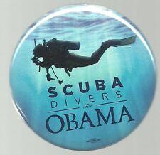 SCUBA DIVERS FOR BARACK OBAMA 2008 POLITICAL CAMPAIGN PIN BUTTON