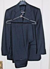 Italian Navy Blue Wool Striped Suit Principe Summer Weight Pants Jacket 39 R