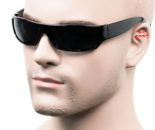 Gangster Style Sunglasses Slim Cholo Wrap Super Dark OG LOC Black Glossy 555