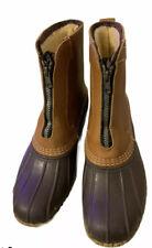 LL Bean Brown Leather/Rubber Fleece Lined Zip Duck Boots Women's 8 M