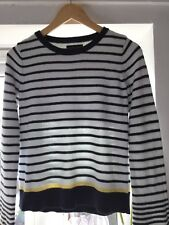 Nautical Jumper 100% cotton Knitted flute Sleeves White Navy Yellow Stripy