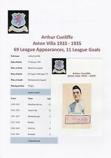 Arthur Cunliffe Aston Villa 1933-1935 molto raro originale firmato a mano taglio