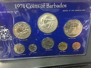1974 Coins of Barbados Uncirculated Specimen Silver Set $10 & $5 Silver Specimen