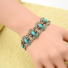 Retro Tibetan Silver Chain Jewelry Natural Turquoise Bracelet Bangle Cuff