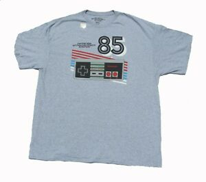 Size 2XL XXL 85 Nintendo Video Game Controller Gray Men's T-shirt Graphic Tee