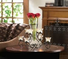 Stunning Scrollwork Candle Stand with 8 Glass Cups Vase in Center Centerpiece