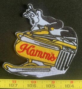 Snowmobile Hamm's Beer Bear Old school Beer Collectors Patch Sew On VTG