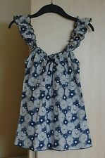 TOPSHOP 100% cotton white & navy floral top with elasticated straps UK 8