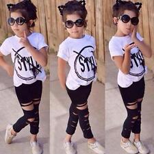 2Pcs Fashion Girls Boys T-shirt +Legging Pants Set Kids Clothes Outfits 120 US