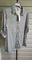 Como Vintage Tunic Top Black White Flannel Stretchy Plus Size 3/4 Sleeve NWT