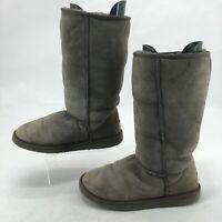 UGG Womens 8 Classic Tall Casual Winter Boots Grey Sheepskin Suede Fur 5815