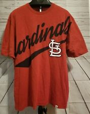 ST LOUIS CARDINALS LARGE SHIRT HEATHER RED MENS MLB BASEBALL MAJESTIC PRINTED