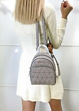 MICHAEL KORS ABBEY EXTRA SMALL BACKPACK MINI XBODY SAFFIANO LEATHER PEARL GREY