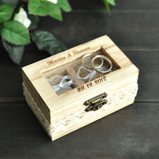 Personalized Wedding Ring Box Rustic Wooden Double Ring Box Wedding Ring Holder