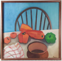 "Oil Painting on Canvas Still Life Fruits Signed Framed Art  (25"" x 25"")"