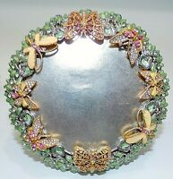 JAY STRONGWATER ENAMEL ROUND BUTTERFLY PICTURE FRAME W SWAROVSKI CRYSTALS