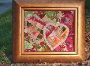 Framed Crazy Quilt Hearts Nestled in Flowers Vintage Ribbons Lace Organza OOAK