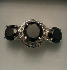 Lady's 925 Sterling Silver 4.65 Ct Black Moissanite & Natural Rough Diamond