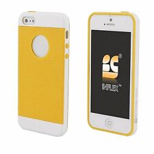 For iPhone 5,5S,SE Hybrid Bumper Slim Protective Cover Case White Yellow TPU