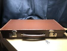 Vintage-Small Brown Bridle Leather Suitcase Briefcase 1950,s With Keys
