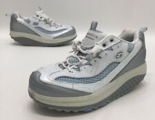 Skechers Shape Up Fitness Womens White Leather/Mesh Walking Shoes Size 8