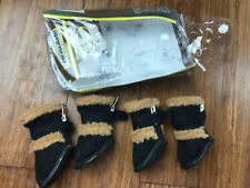 PET LIFE PAW WEAR THINSULATE BLACK WITH BROWN DOGGIE BOOTS SZ MD