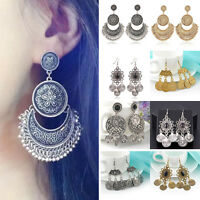 Vintage Ethnic Gypsy Carved Bohemian Drop Tassel  Ear Stud Earrings Boho Jewelry