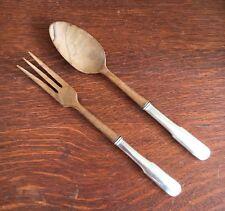 Sterling & Olive Wood Salad Servers Fork Spoon Hallmarked STERLING HANDLE