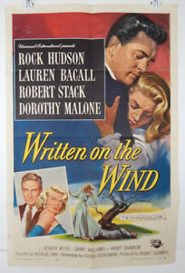 WRITTEN ON THE WIND - 1956 ORIGINAL MOVIE POSTER - ROCK HUDSON - LAUREN BACALL